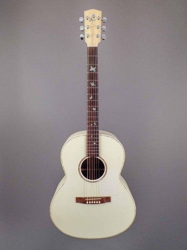 Manzer White Rose Acoustic Guitar