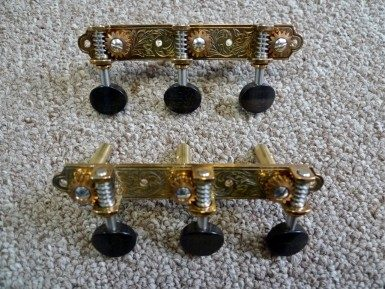 Waverly 3503 3-On-Plate Tuning Machines for Slotted Pegheads with Ebony Buttons