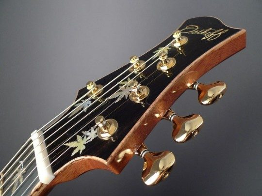 Ebony Headplate Builder Logo and Japanese Maple Leaf Inlay