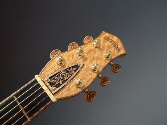 Ceylon Satinwood Headplate With Rose Carved Truss Rod Cover