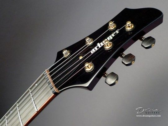 Ebony With White Pearl Block Logo Headplate Builder Logo Inlay