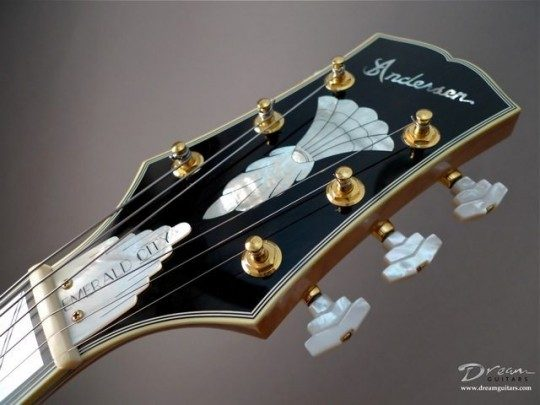 Ebony Headplate Builder Logo, Custom Deco M.O.P Inlay Inlay