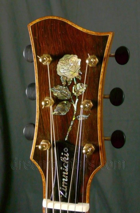 Brazilian Rosewood Headplate Floral Inlay