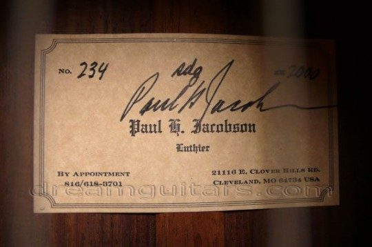 Interior Label Signed by Luthier