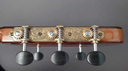 Three On A Plate Gold Etched With Ebony Buttons Tuners