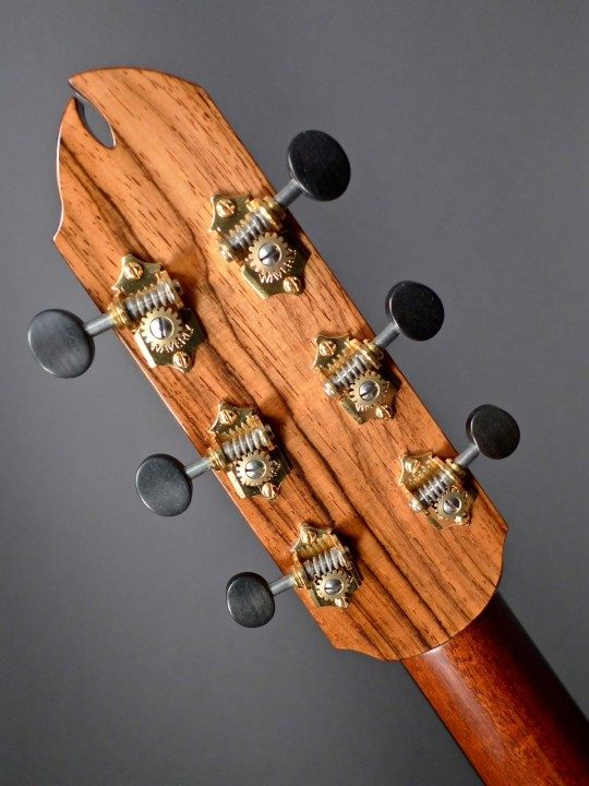 Brazilian Rosewood Backplate and Waverly Gold Tuners With Ebony Buttons