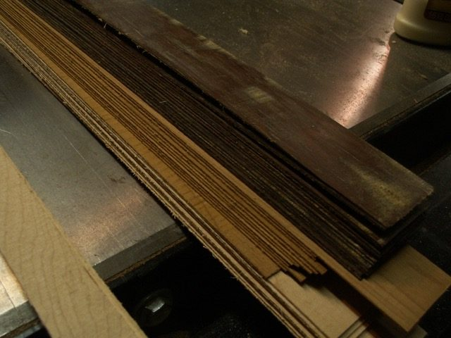 All the veneer for rosette and binding, rosewood, mahogany and maple from the Rand piano and red birch from the 1890's piano.